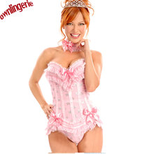 Pink Overbust Corset with Padded Cup Lace up Bustier Bridal Sexy Lingerie and Corset Skirt Sets