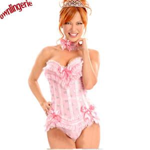 d4fb3ef5e9b AILINGE Pink Cup Lace up Bustier Sexy Lingerie Skirt Sets