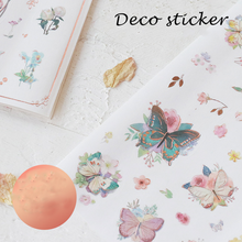 1 Sheet Cute Floral Art Golden Rose Adhesive Stickers DIY Decoration Stickers Stationery Stickers Labels Scrapbook Paper