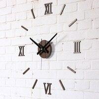 DIY Fun Creative Wall Clock Fashion Roman Numerals Imitation wood