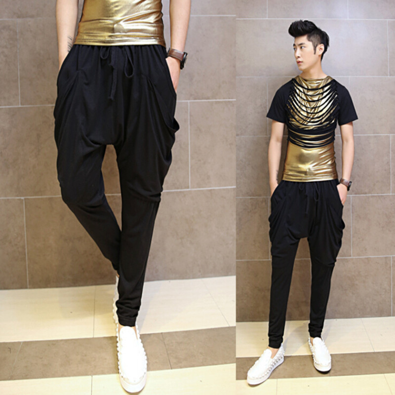 Men nightclub singer punk hip hop haram pants stage costume mens drop crotch trousers street wear casual baggy pants for man