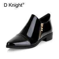 Fashion Pointed Toe Slip on Women Loafers Zip Solid Women Patent Leather Flats Casual Flat Oxford Shoes England Style Oxfords