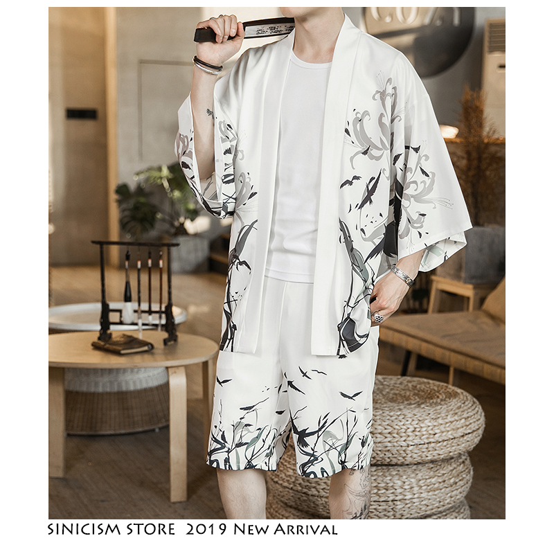 Sinicism Store Summer Casual Men's Sets 2019 New Men Kimono Print Tracksuite Mens 2 Piece Set Clothes Track Suit Male Clothing