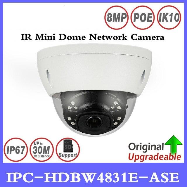 Brand IPC-HDBW4831E-ASE 8MP Mini Dome Network IP Camera Smart Detect Alarm Audio in/out 30m IR Micro SD H.265 WDR IP67 IK10 PoE free shipping dahua cctv camera 4k 8mp wdr ir mini bullet network camera ip67 with poe without logo ipc hfw4831e se
