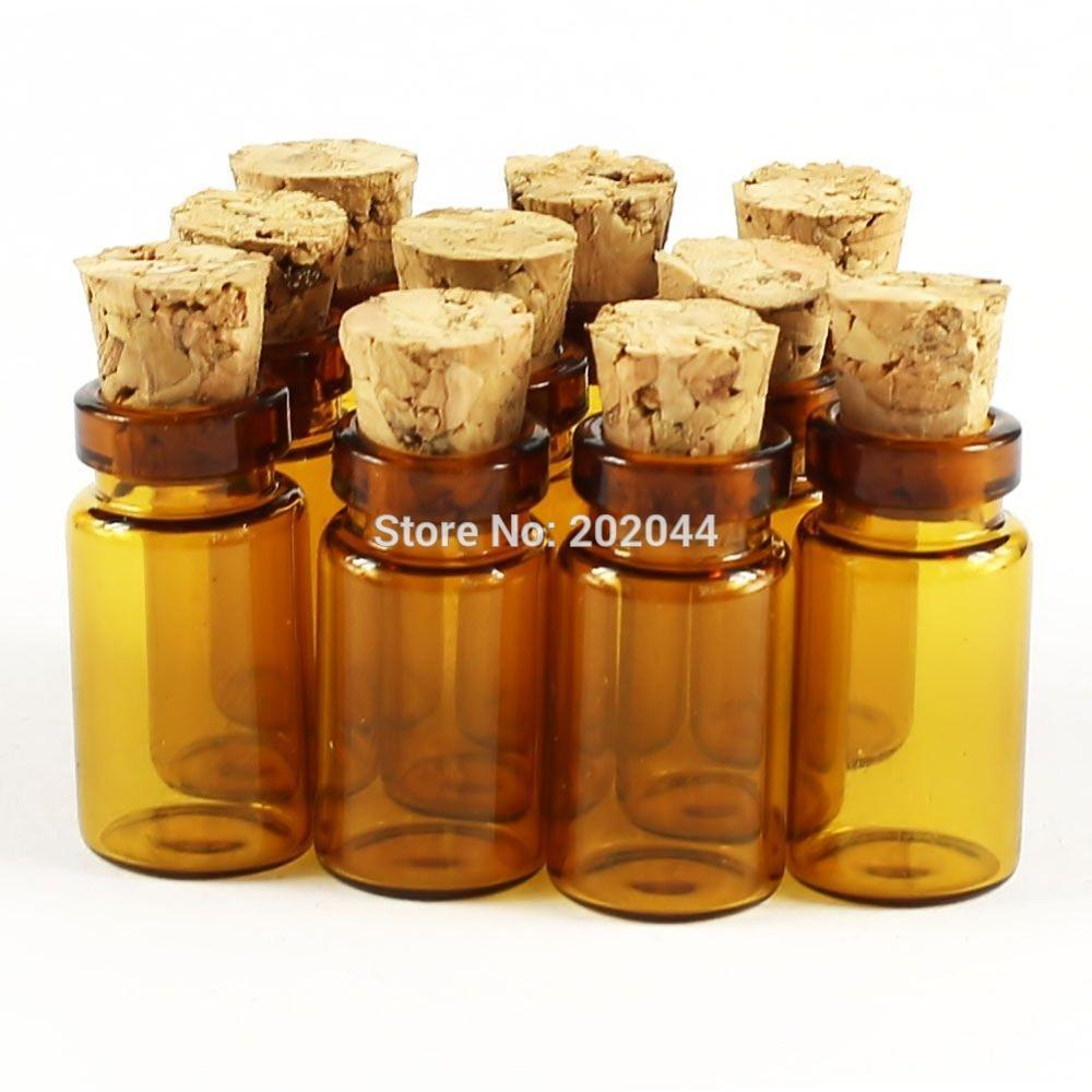 Wholesale 30Pcs 7ML Glass Bottles with Corks Jars Vials Amber Small Bottle NEW