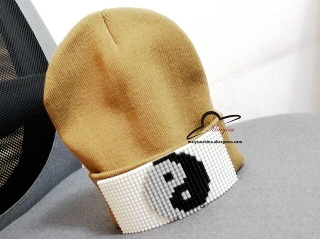 734730afaa688 Mosaics Detachable Inlay Brick Beanies Knit Hat Winter Cap For Man knitted  Cap Boys cap Skullies Fashion Warm knit Beanie