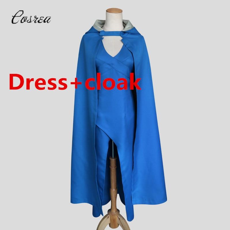 Game of Thrones Cosplay Blue Dress Cloak Daenerys Targaryen Dress Women Summer Elegant Cosplay Halloween Costumes for Women