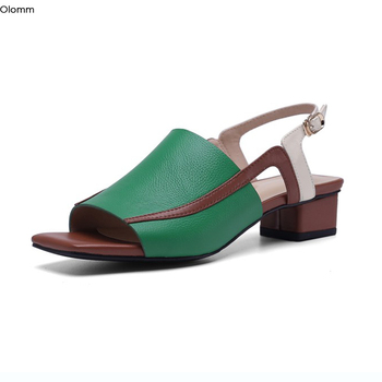 Olomm Women Leather Sandals Buckle Square Low Heels Sandals Nice Square Toe Gorgeous Green Black Dress Shoes Ladies US Size 4-10