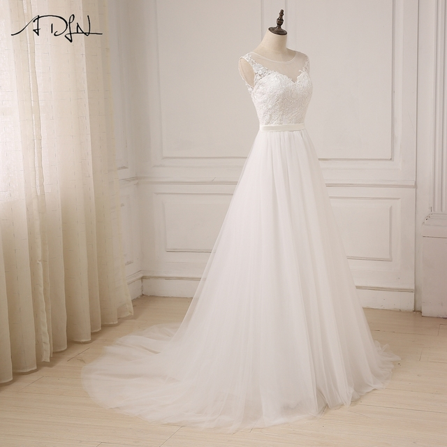 Cheap Lace Wedding Dress O-Neck Tulle Boho Beach Bridal Gown Bohemian Wedding Gowns Robe De Mariage In Stock