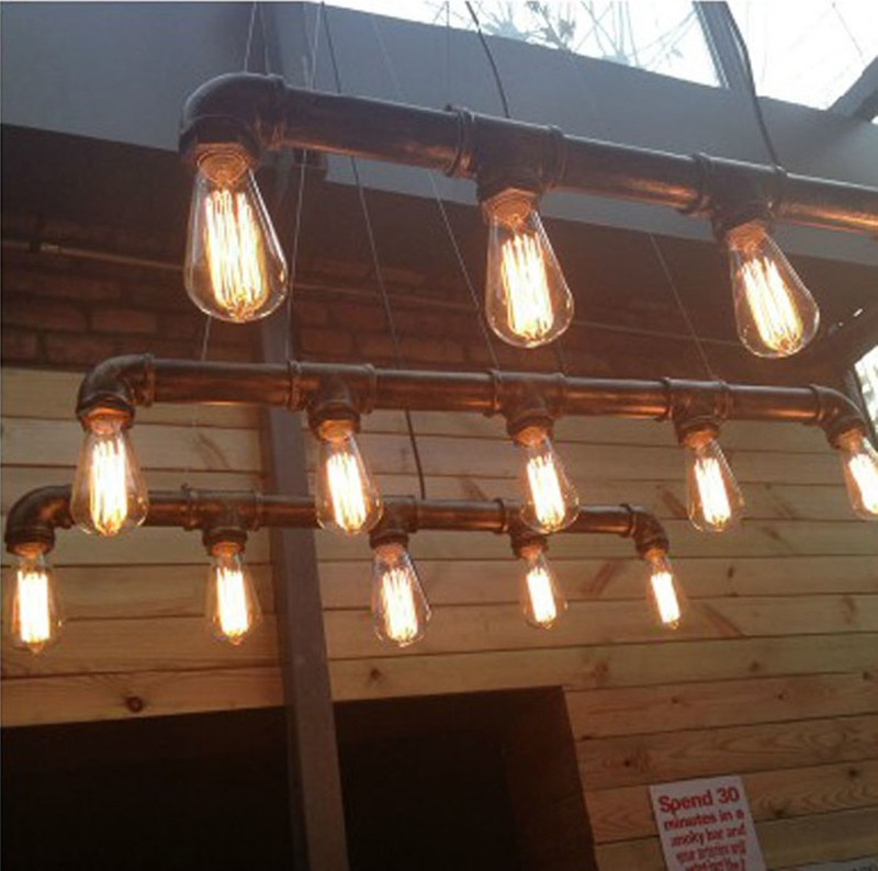 industrial bar lighting. Vintage Pendant Lights Water Pipe Lamp Industrial Metal Iron Kitchen Fixture Home Lighting Luminaire Hanging -in From Bar S