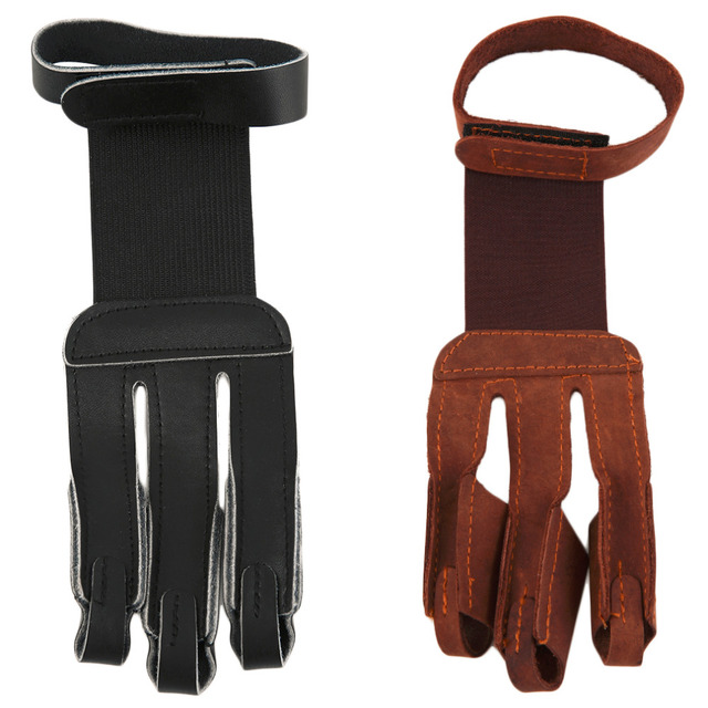 Archery Protect Glove 3 Fingers Pull Bow arrow Leather Shooting Gloves drop shipping