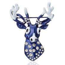 Vintage Enamel Rhinestone Blue Christmas Reindeer Deer Head Brooch Pins Broach Brooches For Women Clothing Jewelry Accessories rhinestone christmas reindeer brooch