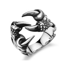 купить Opening Punk Rock Stainless Steel Rings Men Biker Vintage Gothic Ring Dragon Claw Ring for Men Cool Halloween Jewelry C11 дешево