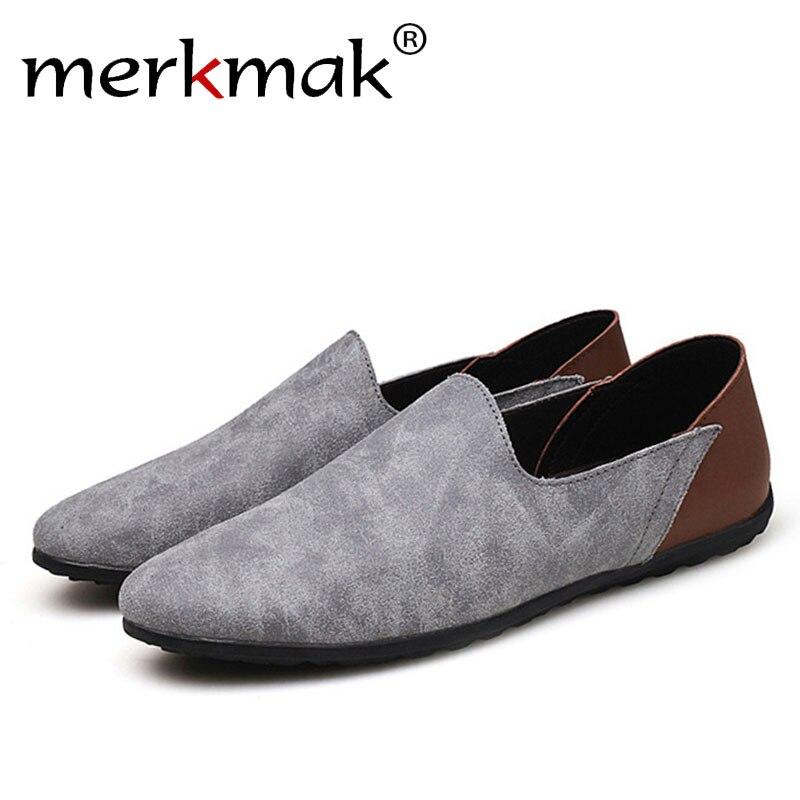 Merkmak Big Size 38-48 Slip On Casual Men Loafers Spring Autumn Mens Moccasins Shoes Genuine Leather Men's Flats Footwear Shoes