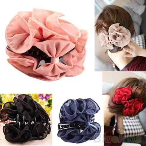 Bellezza coreano Chiffon del Fiore della Rosa Bow Jaw Clip Donna Barrette Dei Capelli Artiglio Artigli 97EC