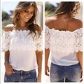 2016 New Arrival Women Lace Shirt Short Sleeve Off Shoulder Tops Chiffon Wide Neck Strapless Blouse