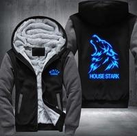New USA Size Game of Thrones House Stark Luminous blue Men's Women's Printing Pattern Thicken Fleece Zipper Hooedies Sweatshirts
