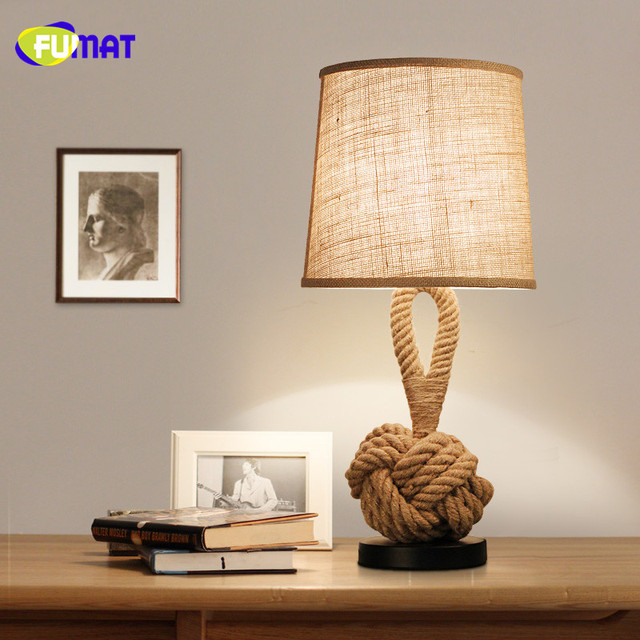 Fumat Table Lamps Vintage Bedside Light De Mesa Lamp Retro Fabric Lampshade Mesalamps Rope Study Led Bedroom
