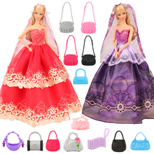 12 Items/lot Doll Accessories=2 Dresses With Veil Event Party long Tail Dress +10 random Pick Bags For Barbie Toy Best Gift