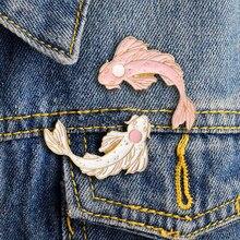 Модная ретро японская медаль животное кои булавки рыба брошь «Золотая рыбка» твердая эмалированная нагрудная булавка значки Броши коллекция булавок брошь