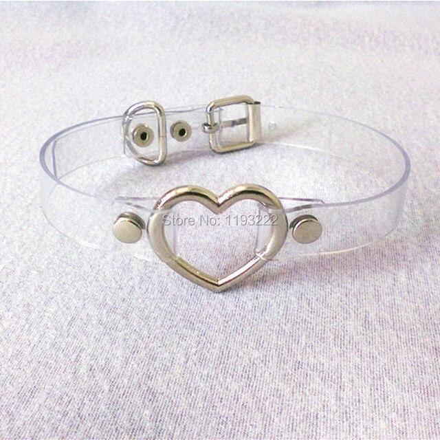Kawaii Punk Clear Transparent Vinly Silver Gold Heart Choker Necklace, Handmade Charm Sweet Heart Metal Buckle Belt Necklace