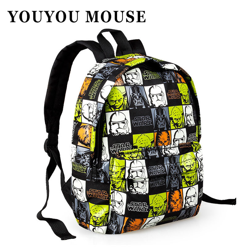 YOUYOU MOUSE New Star Wars Cartoon Printing font b Backpack b font School Bags Hot Sale