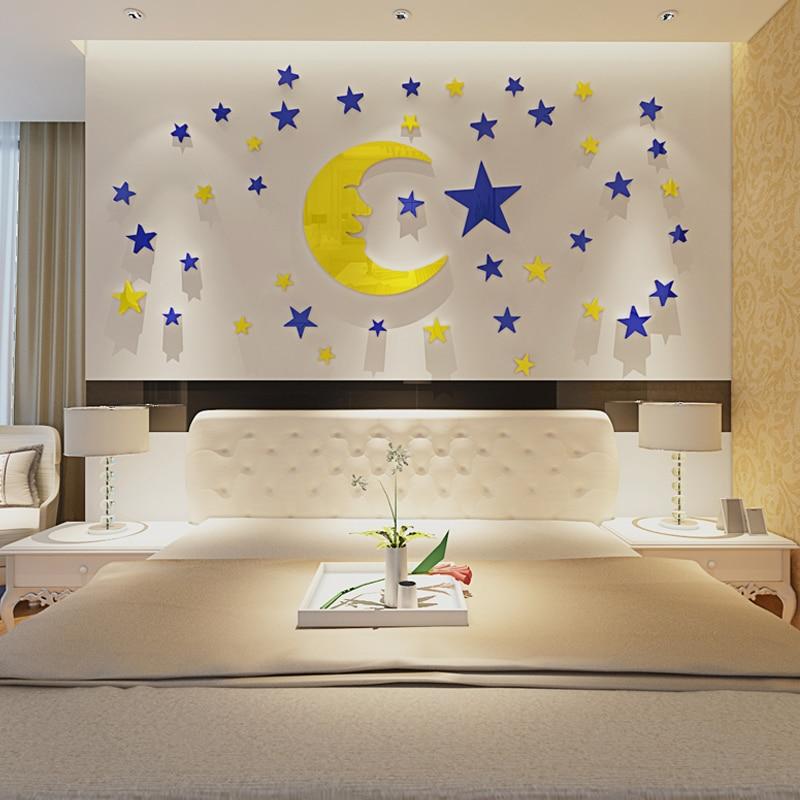 Moon Star Crystal Acrylic Wall Sticker 3d Three