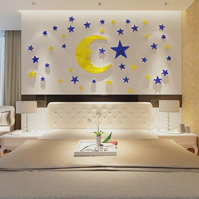Stella della luna di cristallo acrilico autoadesivo della parete 3d ...