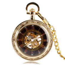 Luxury Gold Open Face Mechanical Hand Wind Pocket & Fob Watches Steampunk Black Dial Men Women Clock With Chain Xmas Gift