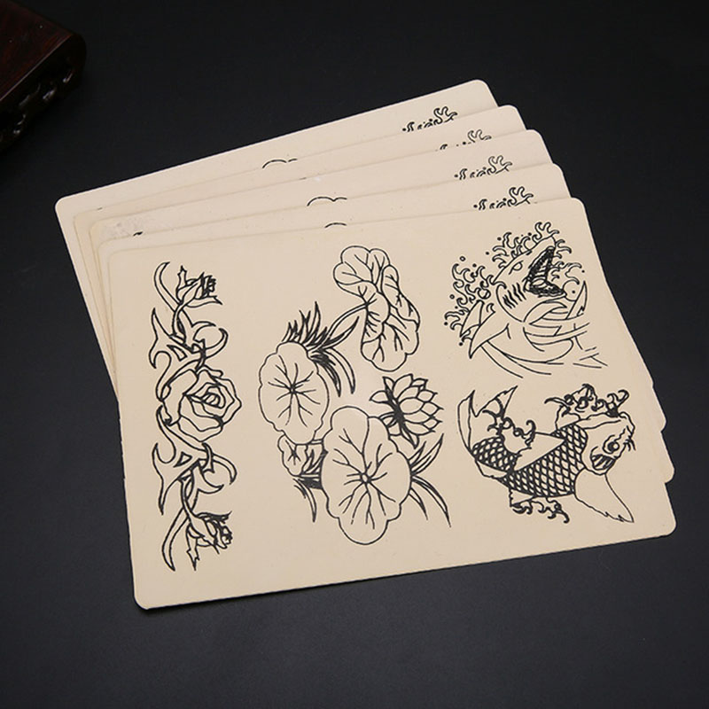 10PCS Tattoo Fake Practice Skin Sheet 20 X 15cm Tattooing Lotus Leaf/Gold/Flower Learning Practice Skin In Tattoo Accessories