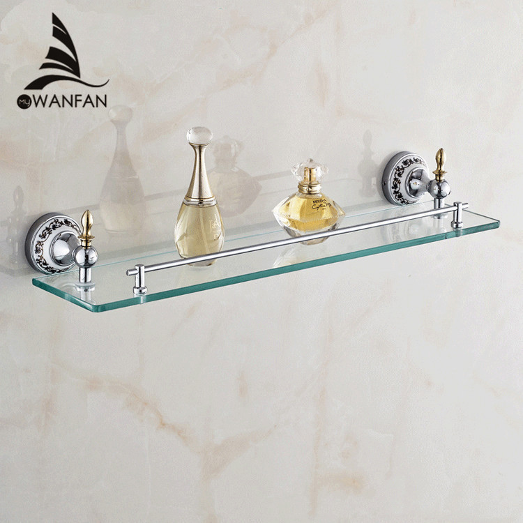 Bathroom Shelves Golden Finish Metal Material Bath Shelf With Single Tempered Glass on the Wall Bathroom Storage Holder ST-6713 1pcs adjustable brush finish metal shelf holder support clamp for bathroom wall glass shelves panel