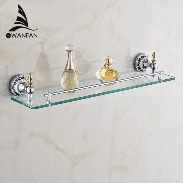 ФОТО Free shipping Bathroom Accessories Solid Brass Golden Finish With Tempered Glass,Single Glass Shelf  bathroom shelf ST-6713