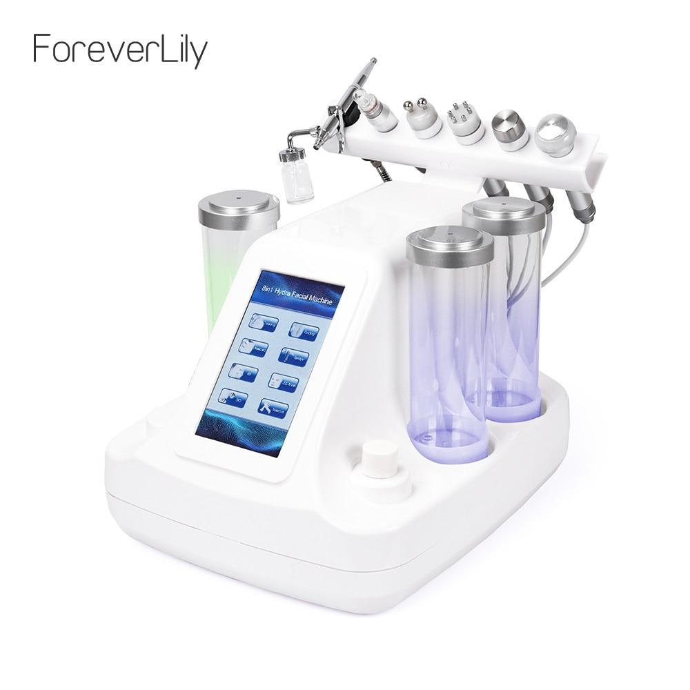 6 em 1 Pequenas Bolhas Ultra-sônica RF Ance Hidra Profunda Facial Pore Cleaner Massagem Facial Máquina de Cuidados Com A Pele BIO Luz dispositivo