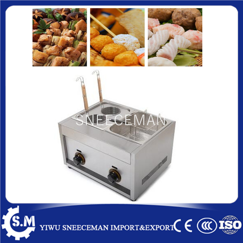 Desktop gas noodle cooking machine with frying pan food processing fryer pot fast food leisure fast food equipment stainless steel gas fryer 3l spanish churro maker machine
