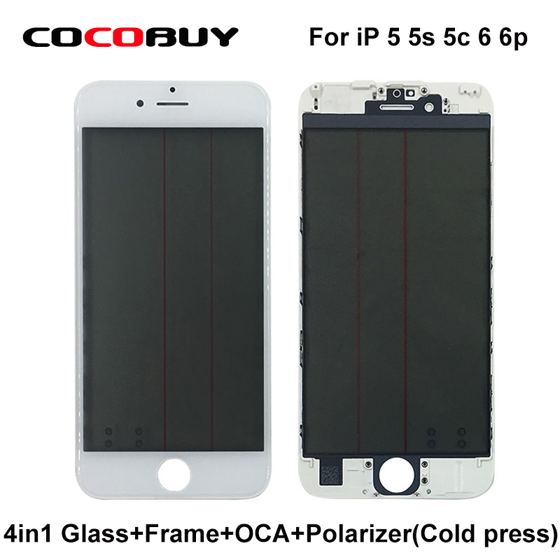 10 Pcs/Lot Free shipping A+ Quality 4 in 1 Front  Glass with Frame &OCA with polarizer for iPhone 5/5c/5s/6/6p high quality wholesale 100m lot 2 3mm el wire with 10 colors for option free shipping
