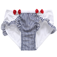 Fairy beauty girl underwear striped sexy milk silk wrapped hip lovely lotus  leaf sweet bow red 284ba9c5e