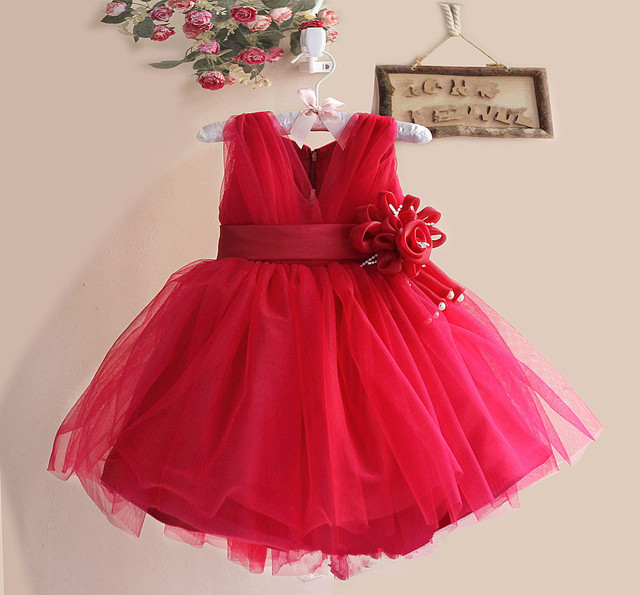 Exquisite Tulle Girls Party Dresses Sleeveless Children Kids Wear