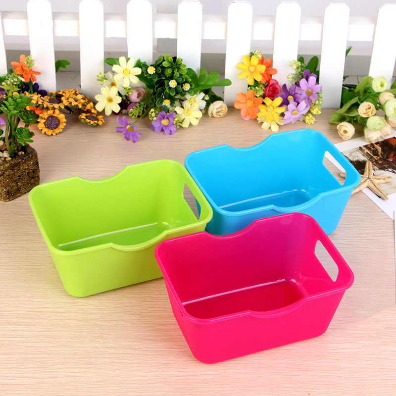 1PC Plastic Storage Boxes Office Desktop Home Makeup Organizer Storage Box Clothes Sundries Organization