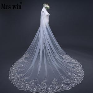 Image 1 - Mrs Win Pure White 3m Bridal Long Cathedral Veil Lace Edge Appliqued One layer Comb Veu De Noiva Mariee 2018 Length Customize C
