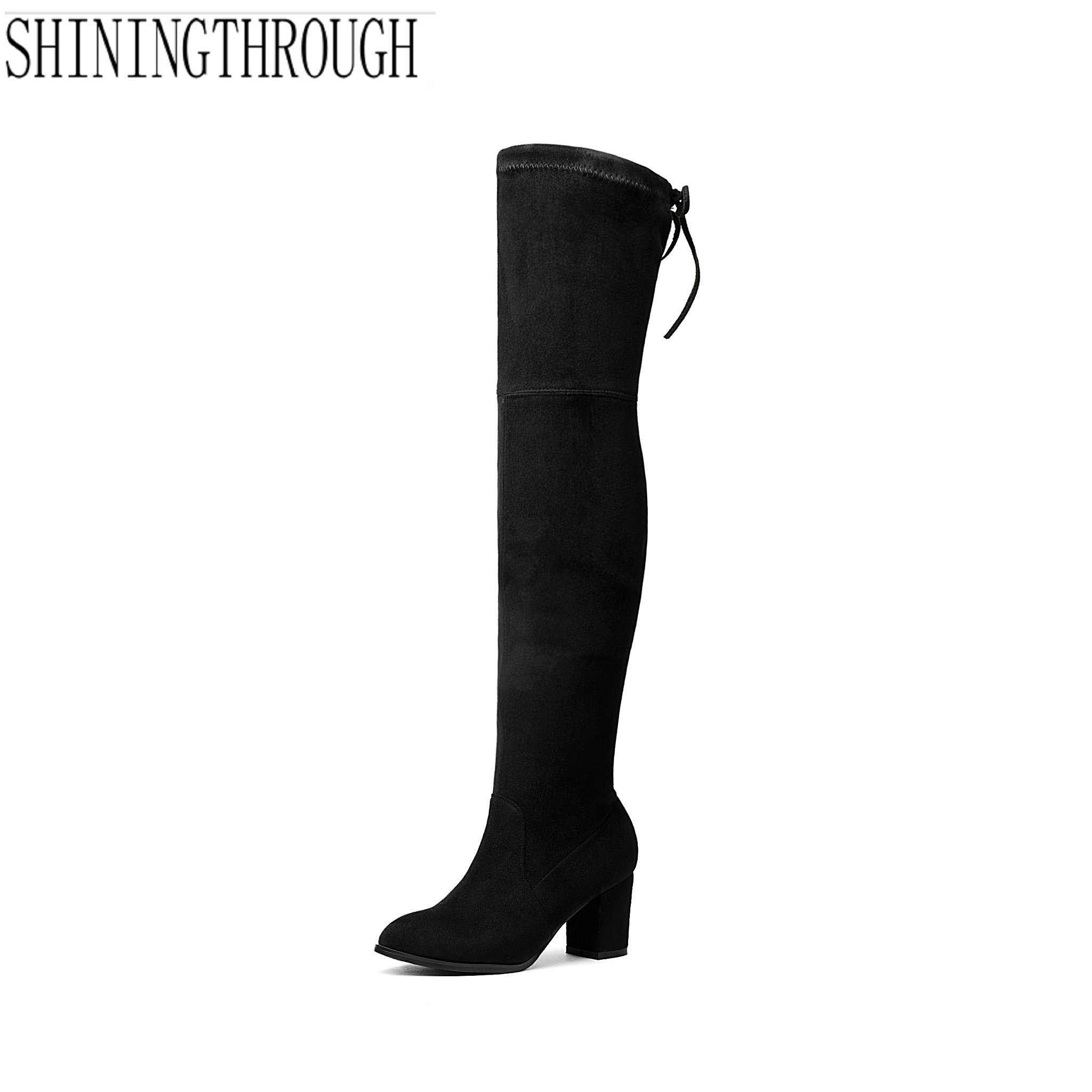2018 fashion Women boots Stretch Suede Thigh High Boots Sexy Fashion Over the Knee Boots High Heels Woman Shoes Fit Botas Mujer