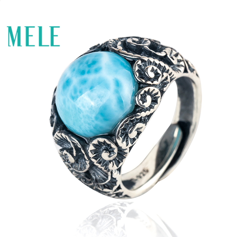Natural blue larimar 925 sterling silver rings for women and man,13mm round cut gemstone with vintage carving fine jewelry big stone larimar rings woman ladies engagement rings with natural larimar gemstone 925 sterling silver jewelry gift for her