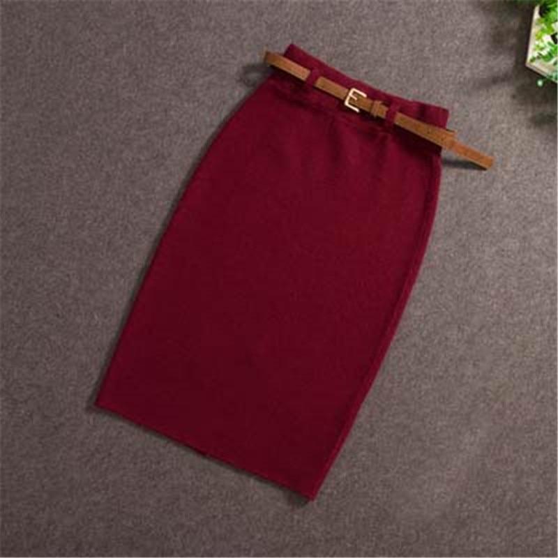 2018 Women Midi Skirts Knitting Solid Female Pencil Skirt Autumn Winter High Waist with Sashes Bodycon