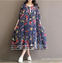 2016 Summer Autumn Fashion Women Clothing Casual Loose Cotton Dress Linen Floral Printed Vintage Dresses Female