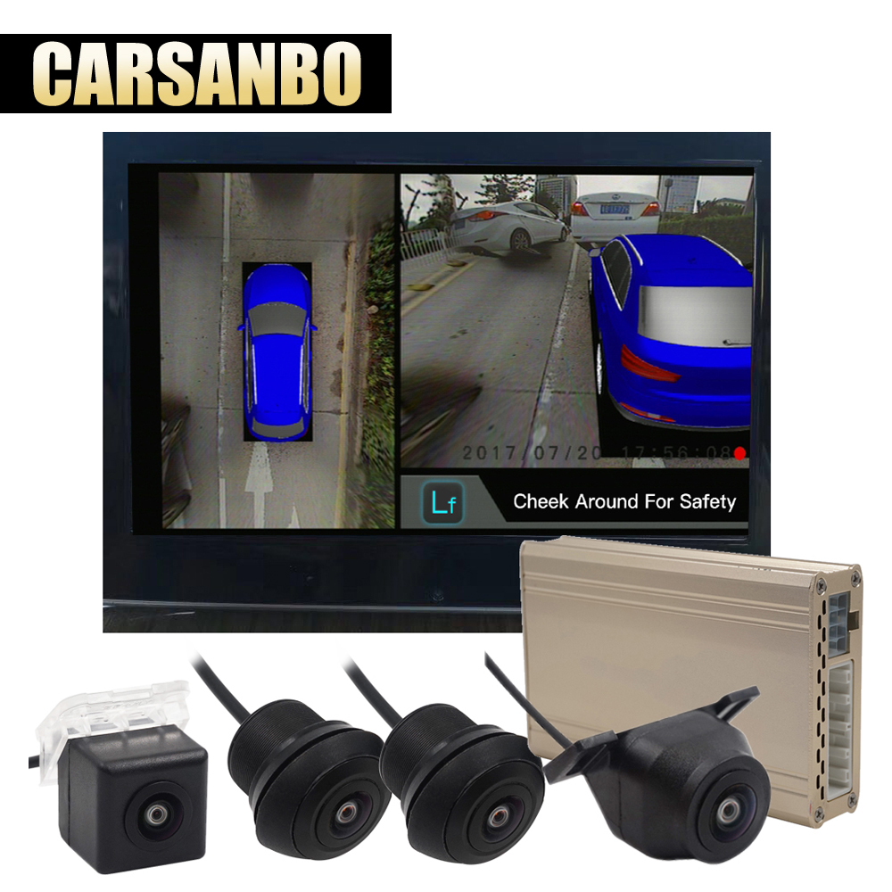 Carsanbo 360 3D Car Surround View System Auto Bird View Panorama DVR System 4 Camera HD 1080P Car DVR Parking Assistance