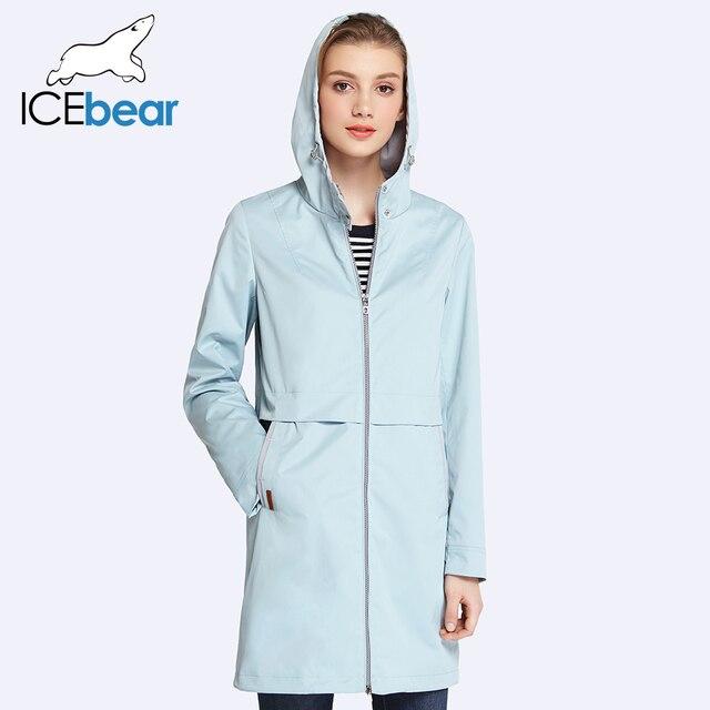 ICEbear 2017 Женская одежда Сплошной Цвет Длинным Рукавом Повседневная Новый Женский Пальто Стоять Воротник Карманы Пальто 17G122D