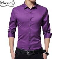 High Quality 2017 Men Casual Slim Fit Shirt Men S Long Sleeve Silk Shirts Turn Down