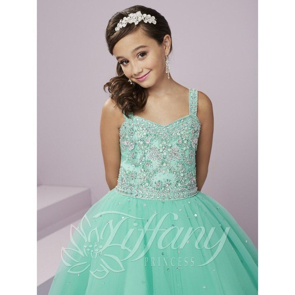 Hot Selling New Ruffled Mint Green Flower Girl Dresses For Wedding ...