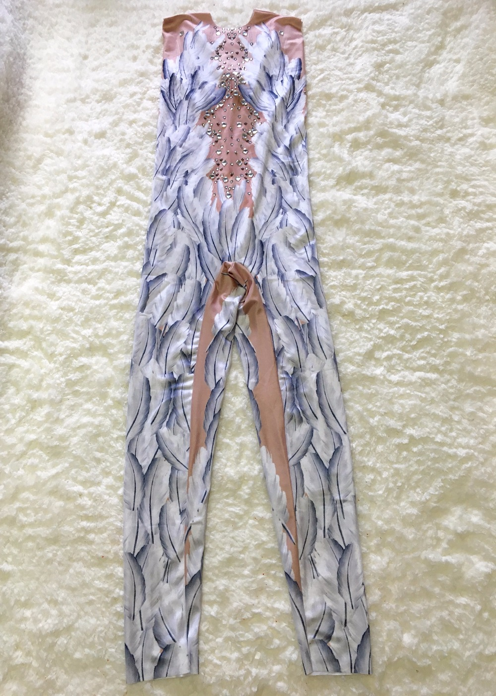 Glisten Rhinestone Feather Printed Jumpsuit Bling Crystals Rompers Sexy Costume Nigjtclub Party Show Celebrate Outfit Stage Wear