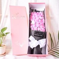 100% New Handmade 51 Pcs Rose Artificial Flowers Wedding Holding Flowers For Bride Bridal Gift Box Wedding Bouquet Flower