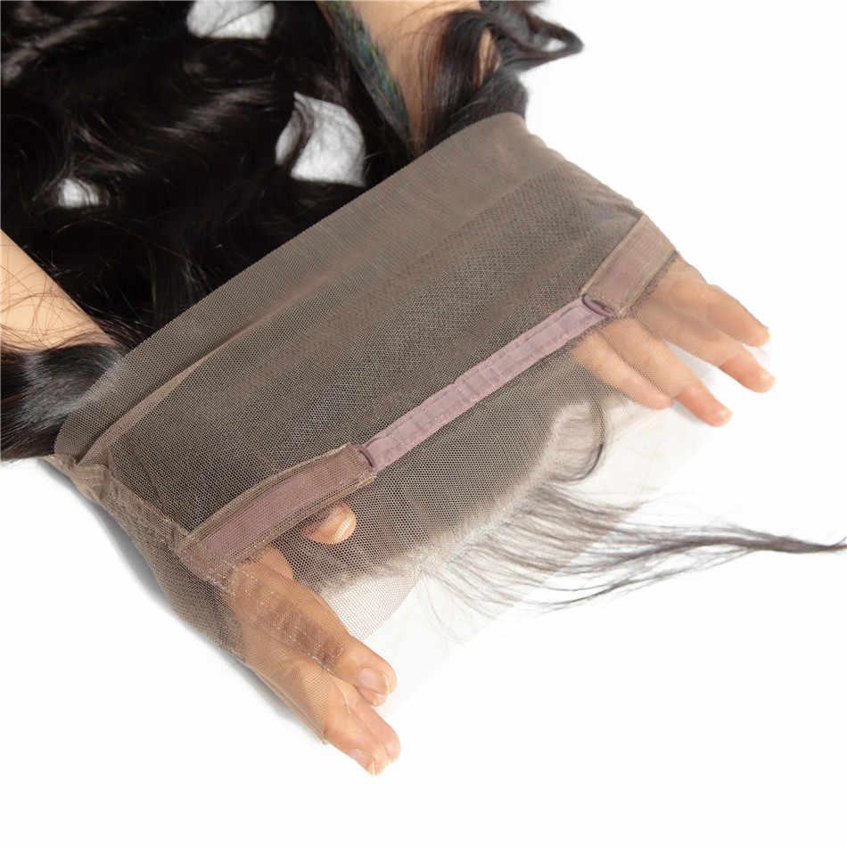 Mifil cabelo 360 fechamento frontal do laço onda corpo brasileiro frontal com o cabelo do bebê 100% remy fechamento do laço do cabelo humano parte livre